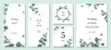 Fototapeta Kwiaty - Watercolor vector set wedding invitation card template design with green eucalyptus leaves.