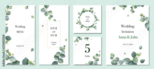 Watercolor vector set wedding invitation card template design with green eucalyptus leaves.