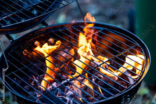 Fototapeta Barbecue fire with round grill
