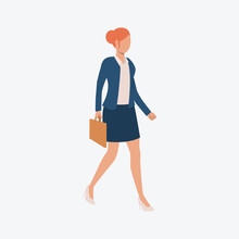 Business Woman Walking And Carrying Briefcase