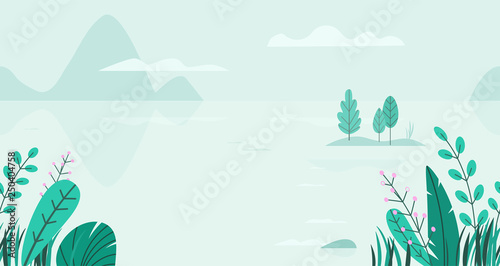 Poster Bleu clair Flat vector background of spring landscape with minimal trees, lake, mountains, flowers, grass. Fantasy nature seamless border. Summer cartoon illustration