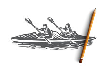 Kayak, Sport, Water, Paddle, Canoe Concept. Hand Drawn Isolated Vector.