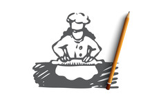 Girl, Cook, Roll, Dough, Food Concept. Hand Drawn Isolated Vector.