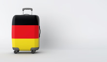 Travel Suitcase With The Flag Of Germany. Holiday Destination. 3D Render