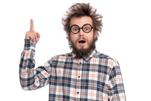 Crazy Bearded Man With Funny Haircut In Eye Glasses, Having Idea And Pointing Finger Up. Happy Surprised Guy In Plaid Shirt Isolated On White. Emotions, Business, Advertising And Signs Concept.
