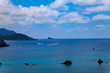 Holiday concept image with sea and sky. Beautiful scenic with blue sky and sea with islands by the side