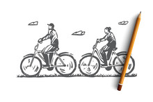 Old, Couple, Bicycle, Happy, Sport Concept. Hand Drawn Isolated Vector.
