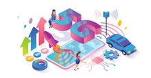 5G Speed Isometric Cyberspace And Tiny Persons Concept Vector Illustration.