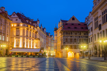 Old Historic Prague Square At Night With Old Lamps