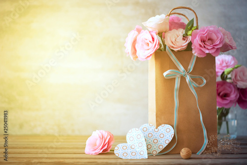 Foto op Plexiglas Retro Happy Day background with flowers, hearts and bow