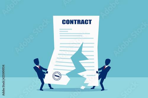 Cuadros en Lienzo  Vector of two business men tearing in half contract agreement.