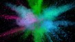 Super slowmotion shot of color powder explosion isolated on black background. S