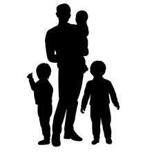 Vector, Isolated, Family Silhouette, Mom, Dad And Child