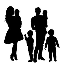 Silhouette With Children Family, Mom, Dad And Child