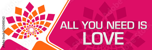 Photo  All You Need Is Love Pink Orange Floral Left Rounded Squares