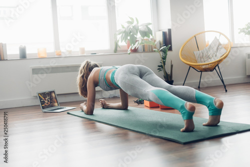 Young lady doing plank aerobics practice at home - 250418791