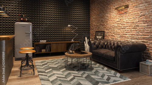 Leinwand Poster Interior of modern man living room with bar 3D rendering