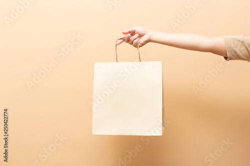 Photo Hand holding a paper bag isolated on background