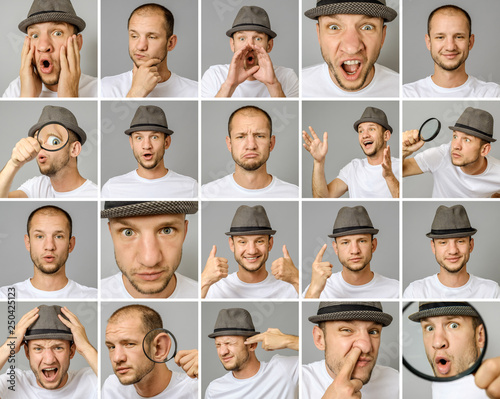 Fotografie, Obraz  Set of young man's portraits with different emotions and gestures