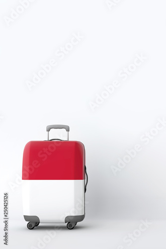 Fototapety, obrazy: Travel suitcase with the flag of Indonesia. Holiday destination. 3D Render
