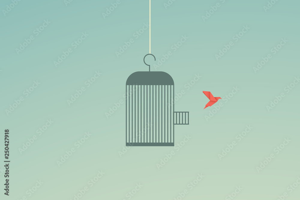 Fototapeta Minimalist stile. vector business finance. Flying bird and cage Freedom concept. Emotion of freedom and happiness