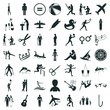 silhouette icon set. leaning against the wall silhouette and boy with balloon silhouette vector icons.