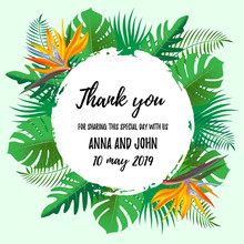 Modern Thank You Wedding Invitation Card With Tropical Exotic Flower Frame Background, Floral Elements Label. Vector Design Template, Isolated. Save The Date Welcome Card With Palm Plant Wreath