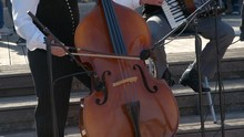 A Musician Is Playing Cello. He Belong To A Group Of People Who Plays National Folk Music.