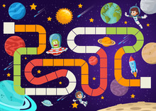 Board Game With Astronaut Cartoon Children And Alien Flying In The Space.