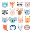 Cute Woodland characters, bear, fox, raccoon, rabbit, squirrel, deer, owl and others.