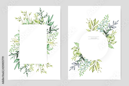 Fotografie, Obraz  watercolor floral frame multi purpose background