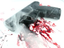 Murder Scene - Gun With Blood ...