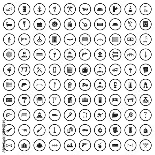 Fotografia  100 construction worker icons set in simple style for any design vector illustra