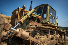 Old Military Bulldozer With Co...