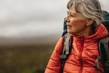 Close Up Of A Senior Woman Hiking