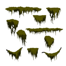 Green Swamp Moss On White Background. Forest Grass In Cartoon Style. Isolated Design Element. Game Sprite. Marsh Plants