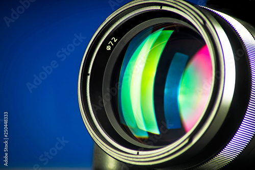 Fototapeta Close-up of photographic lens, diffraction of light