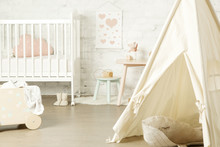 Tent, Crib And Kids Furniture In The Nursery Room, Nicely Decorated Kids Room