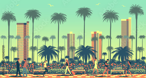 Summer cityscape with peopl...