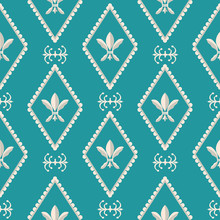 Gold And Silver Fleur De Lys Design. Classic Style With A Modern Twist. Seamless Vector Pattern On Caribbean Blue Background. Perfect For Stationery, Fabrics, Textiles, Home Decor, Giftwrapping