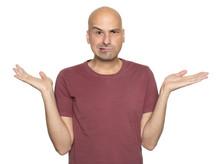 Bald Man Shrugging