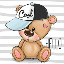 Cartoon Cool Teddy Bear With A...