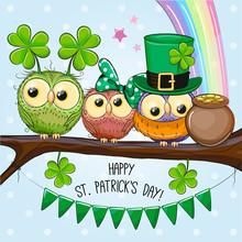 St Patricks Greeting Card With Three Owls