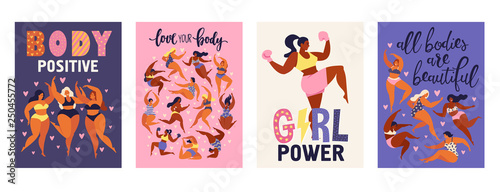 Feminism body positive vertical cards with love to own figure, female freedom, girl power isolated vector illustration.