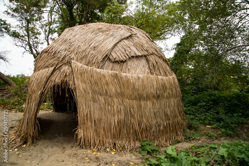 Canvas Print An Indian hut at Plimoth Plantation in Plymouth, MA.
