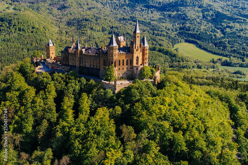 Foto auf Leinwand Schwarz Aerial view of famous Hohenzollern Castle