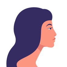Asian Woman. Profile Of The Girl. Portrait. Avatar. Vector Flat Illustration