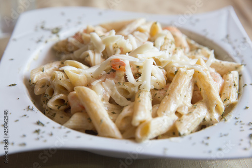 Penne Alfredo with Shrimp Wallpaper Mural