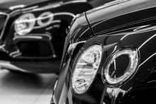 Headlights Of Luxury Car At De...
