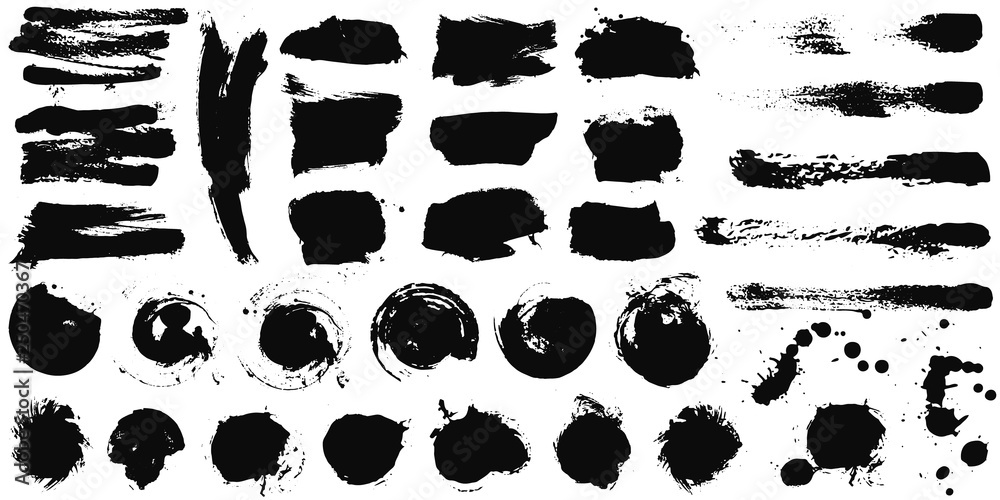 Fototapeta Set of black ink hand drawn brushes collection isolated on white background for your design. Dirty artistic brush strokes element. Black labels, background, paint texture. Vector